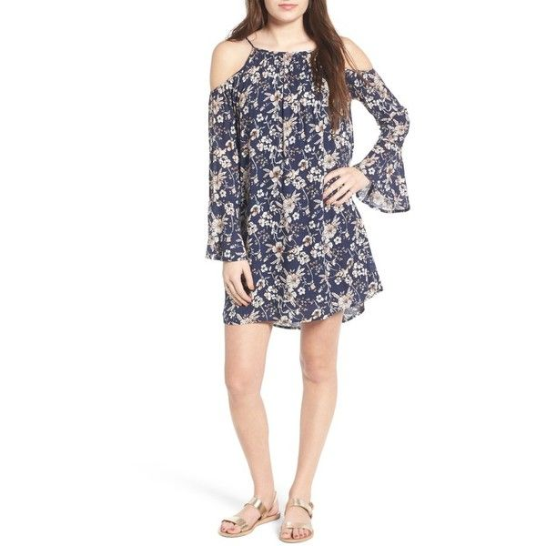 Women's Lush Floral Print Cold Shoulder Dress ($49) ❤ liked on Polyvore featuring dresses, navy floral, navy blue shift dress, polka dot dress, floral dresses, white cold shoulder dress and navy dress