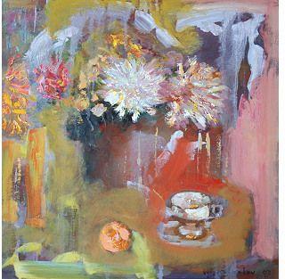 Vintage Fine Art For You Still Life w/ Chrysanthemums & Orange