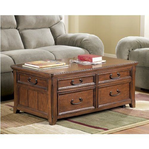 Wooden Lift Top Living Room Cocktail Table By Ashley Furniture 544 29 Framed Drawer Fronts Rich Cocktail Tables Living Room Coffee Table Living Room Table
