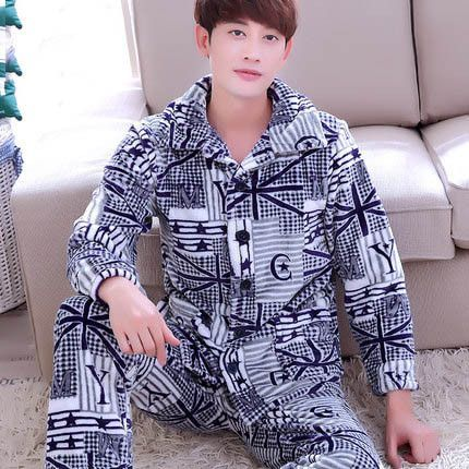 3e785a70c121 New Men Sleepwear Bathrobes Man Robes Big Size Thickening Autumn Winter  Flannel Long-Sleeve Coral Fleece Robe