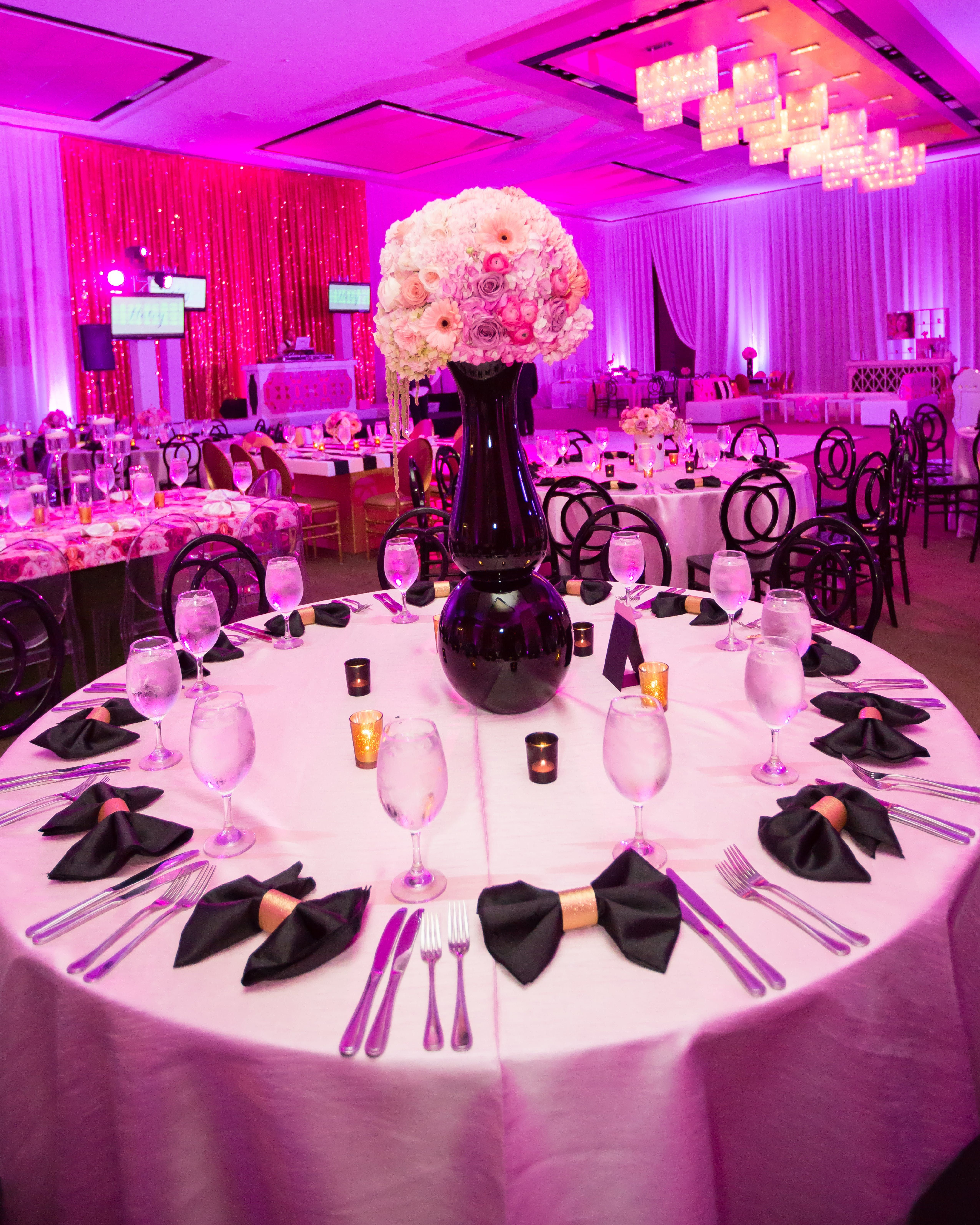 Black Pink Mod Bat Mitzvah Party Rentals And Decor By Gilded Group Decor Miami Event Design Miami Event D Wedding Decorations Event Decor Floral Wedding