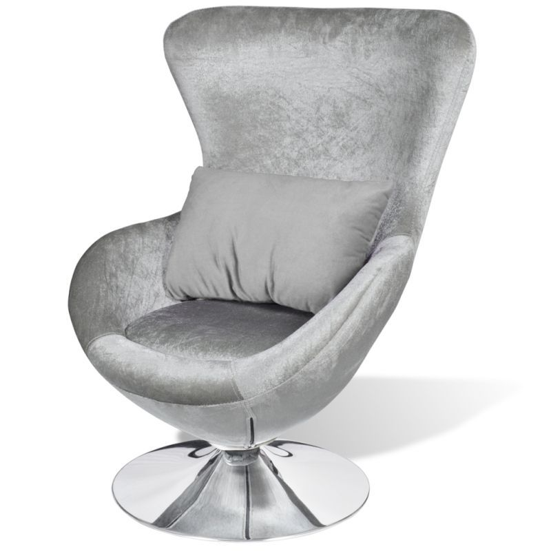 Swivel Egg Chair In Silver Polyester With Cushion | Buy Designer Chairs