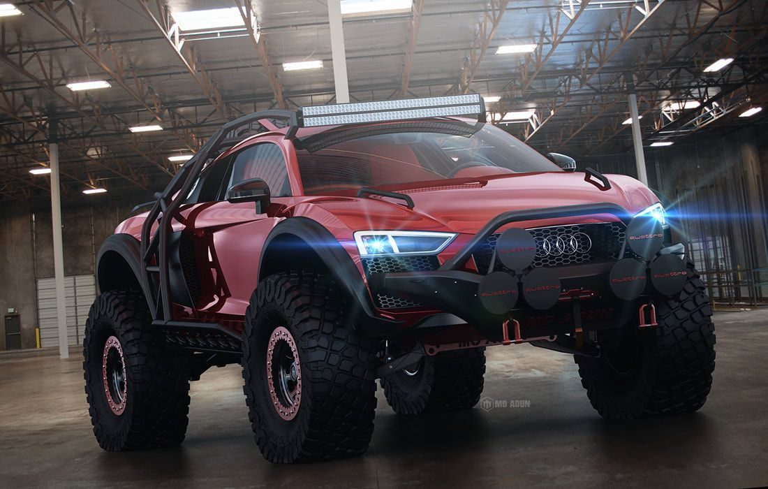 997884fc797785 Audi R8 Supercar Transformed Into a Monstrous Off-Roader in Pixels ...
