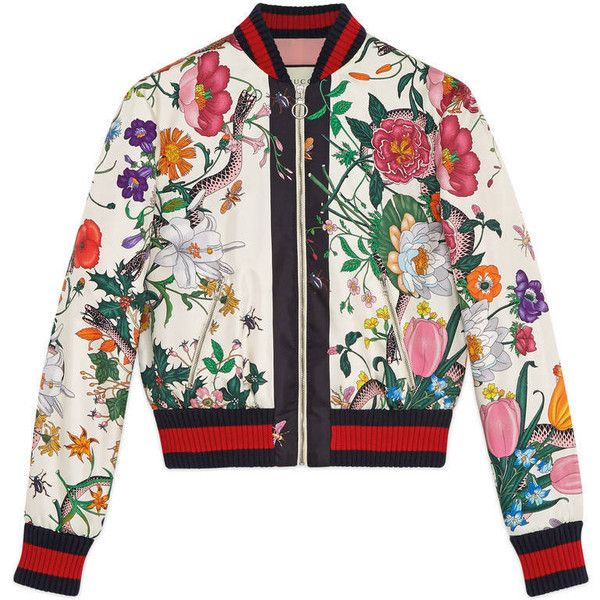 0e8c1699009 Gucci Flora Snake Print Silk Bomber ($2,000) ❤ liked on Polyvore featuring  outerwear, jackets, ready to wear, women, white jacket, flower jacket,  bomber ...