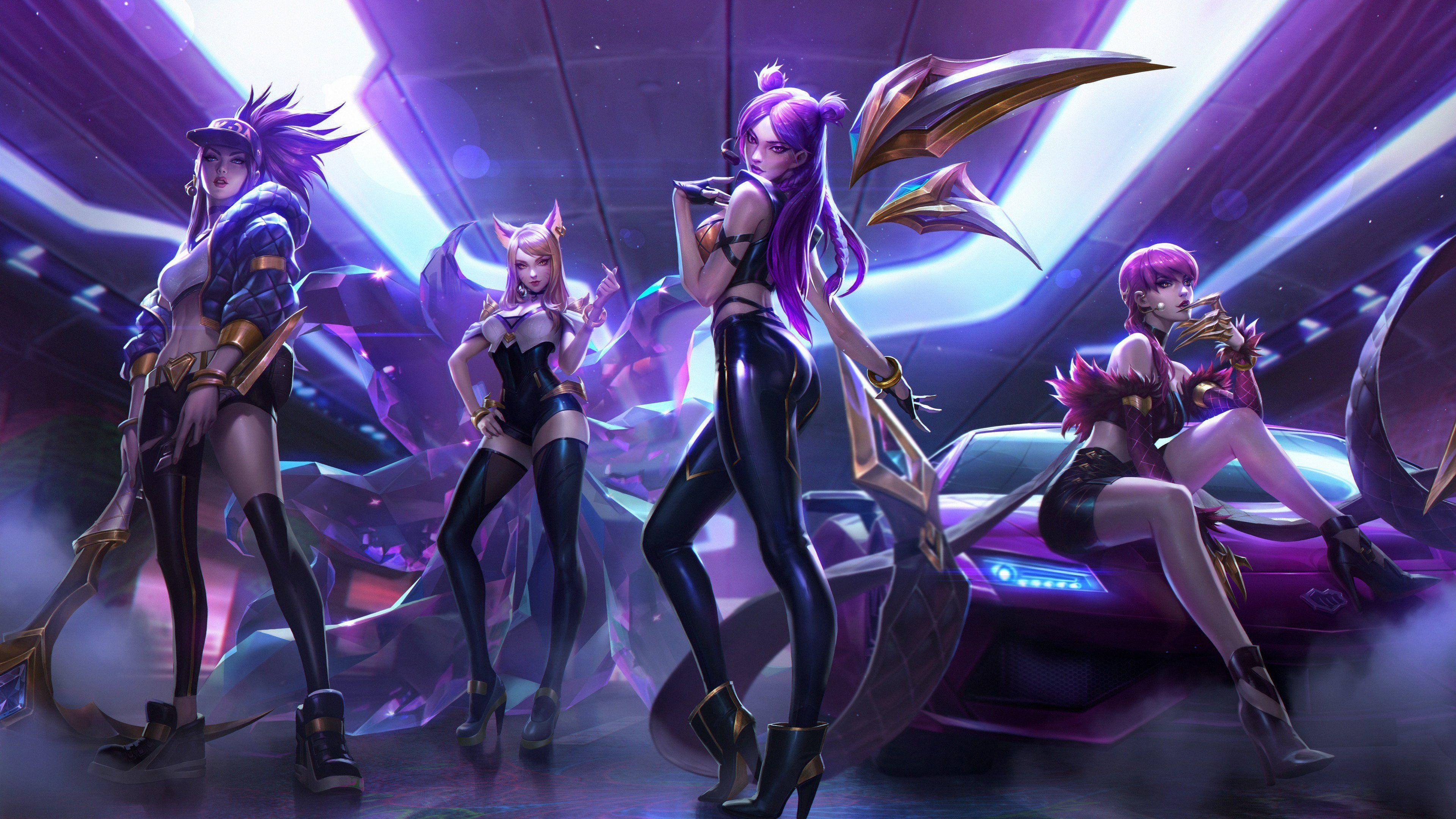Evelynn Kaisa Ahri Akali League Of Legends 4k Wallpaper In
