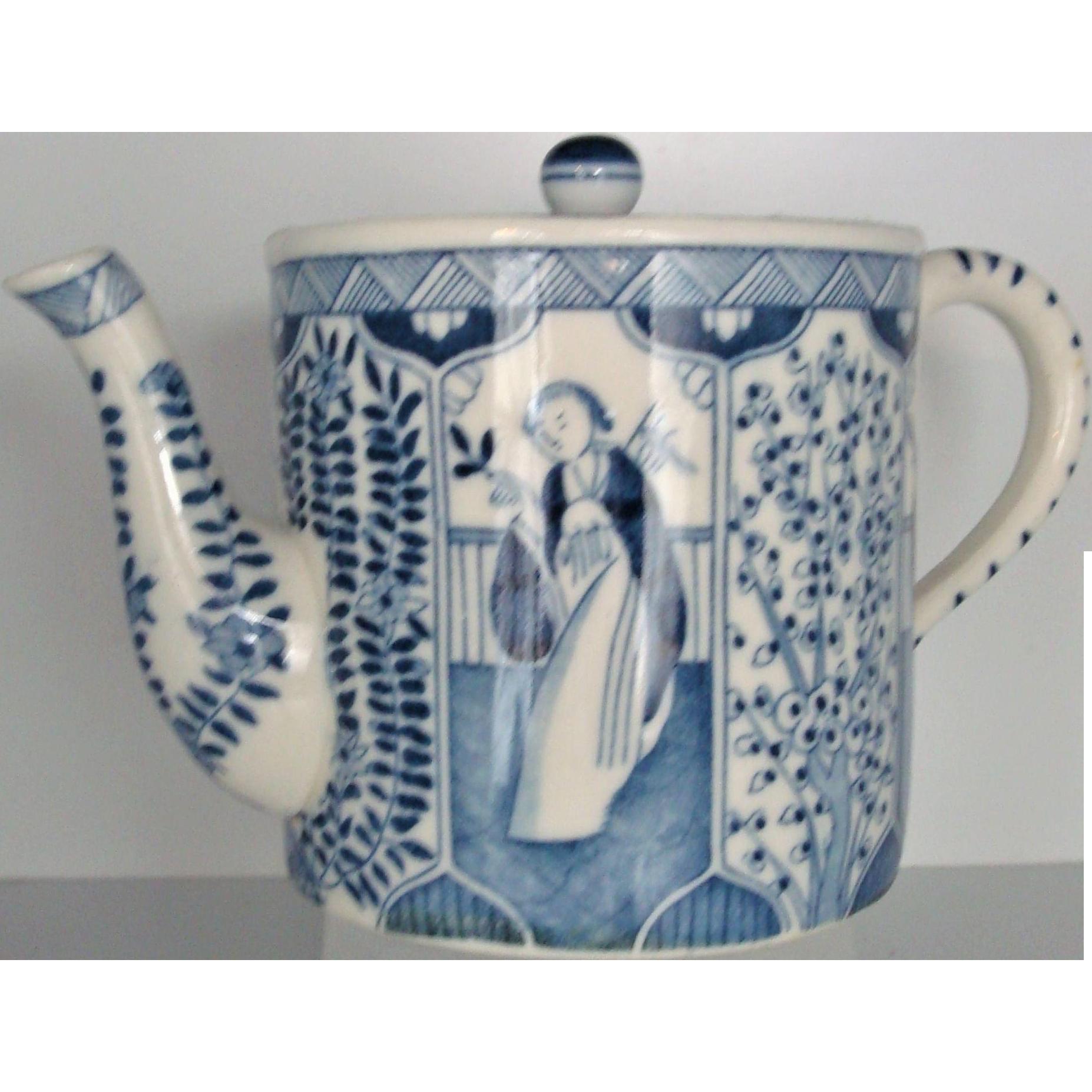 Tea Pot Chinese Kangxi Export Blue White Long Eliza or Lange