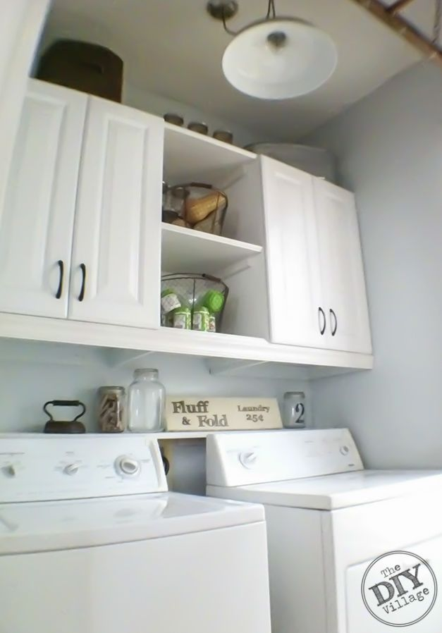 Diy Laundry Room Makeover I Love These Cabinets And The Shelf Between Them Gives Functional Attractive