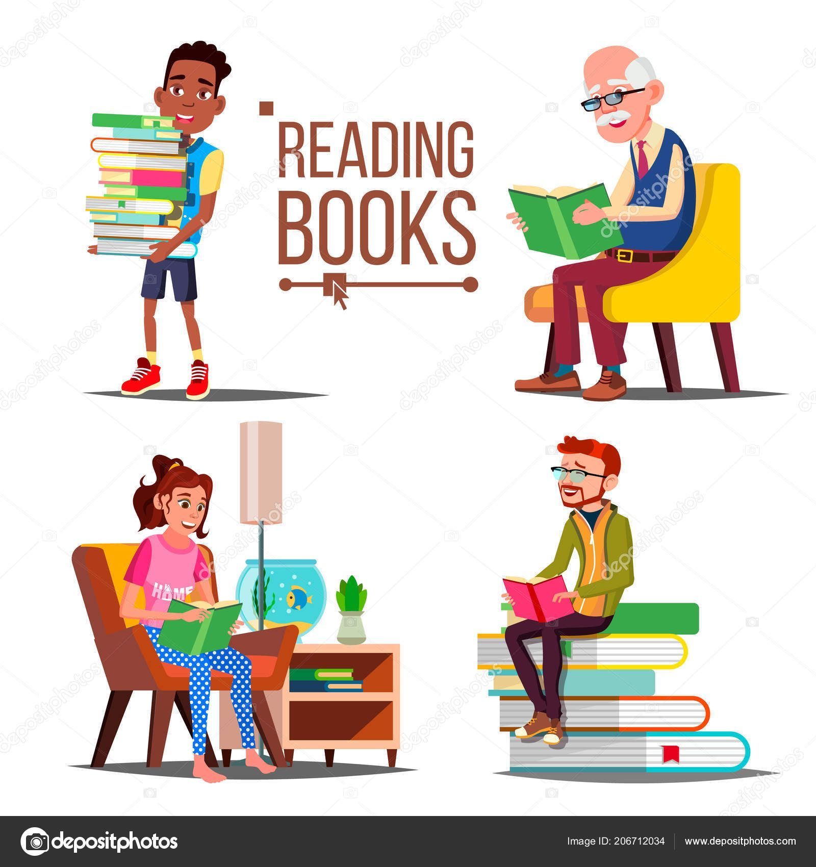 People Reading Books Vector Big Stack Of Books Education Paper