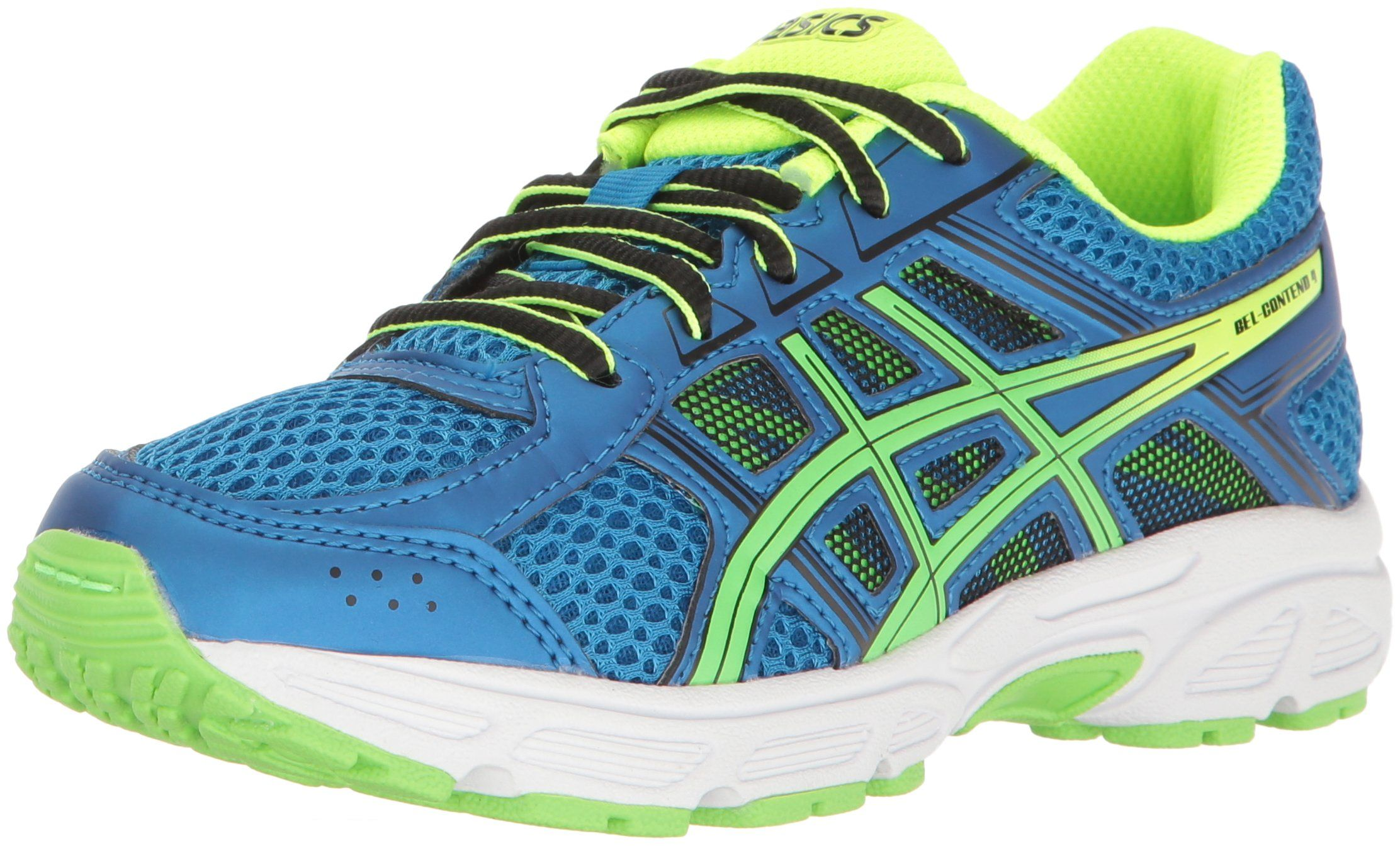 ASICS Unisex-Kids Gel-Contend 4 GS Running-Shoes, Directoire Blue/Green/Safety  Yellow, 4.5 Medium US Big Kid. Rearfoot GEL® Cushioning System: Attenuates  ...