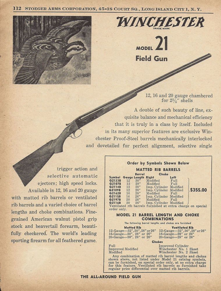 1955 winchester model 21 field gun shotgun ad classic arms