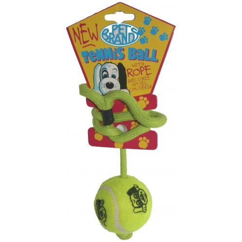 The Tennis Ball On A Rope Dog Toy By Pet Brands Is A Fun And