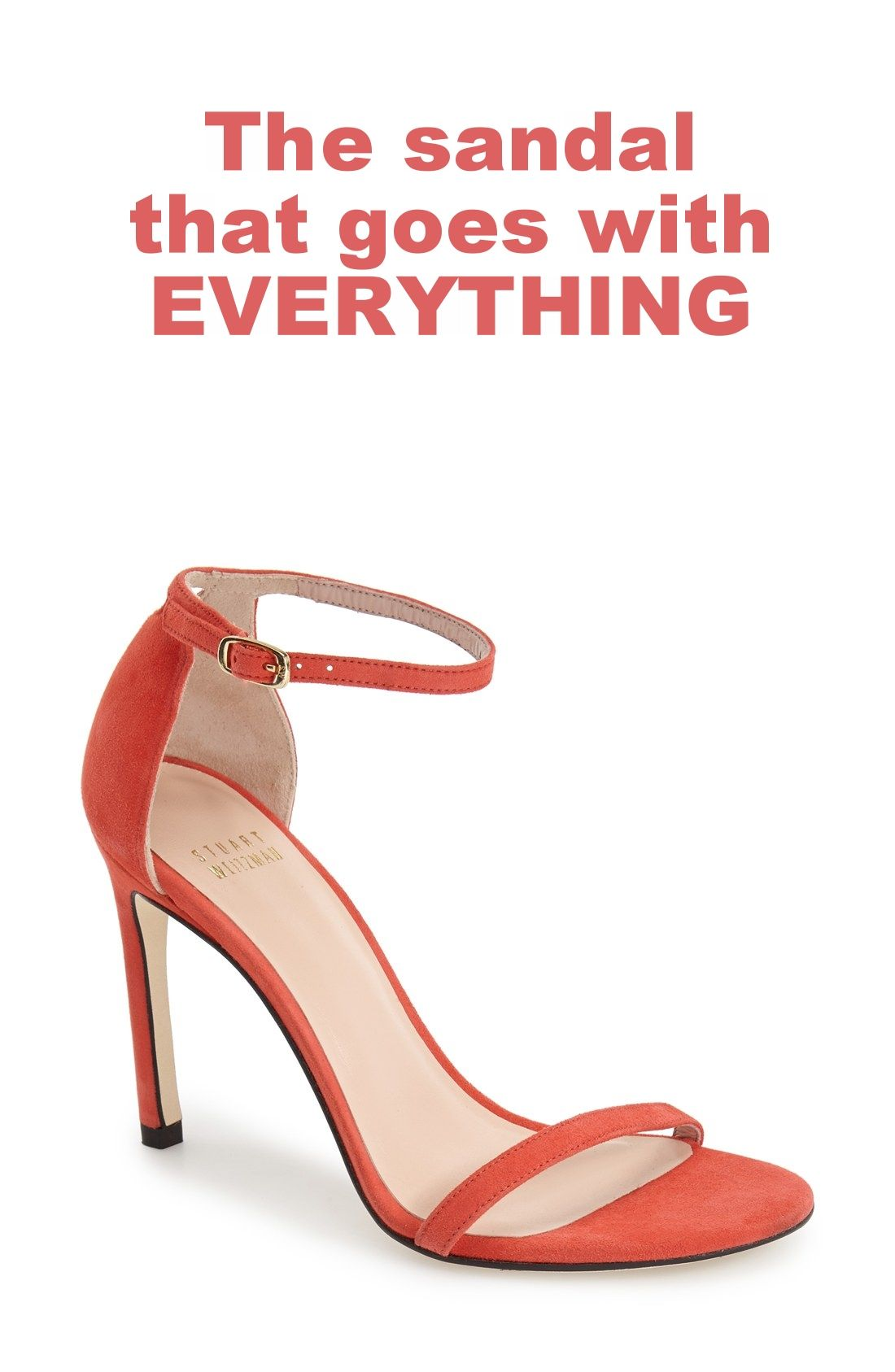 This Stuart Weitzman sandal seriously goes with everything! It's the perfect heel height, is flattering on everyone and is a favorite shoe among editors, stylists and celebrities. Gorgeous, comfortable and affordable, too! Comes in 8 colors.