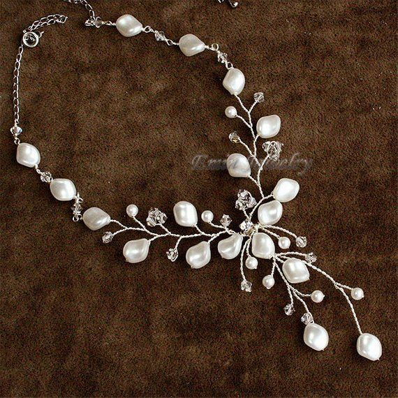 Vine Bridal Necklace Pearls Wedding Necklace Austrian Crystal
