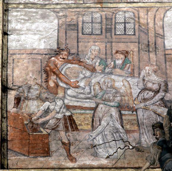 Scena Ars moriendi, malowidło ścienne w kościele p.w. św. Tomasza w Nowym Mieście Lubawskim, ok. 1643 r.