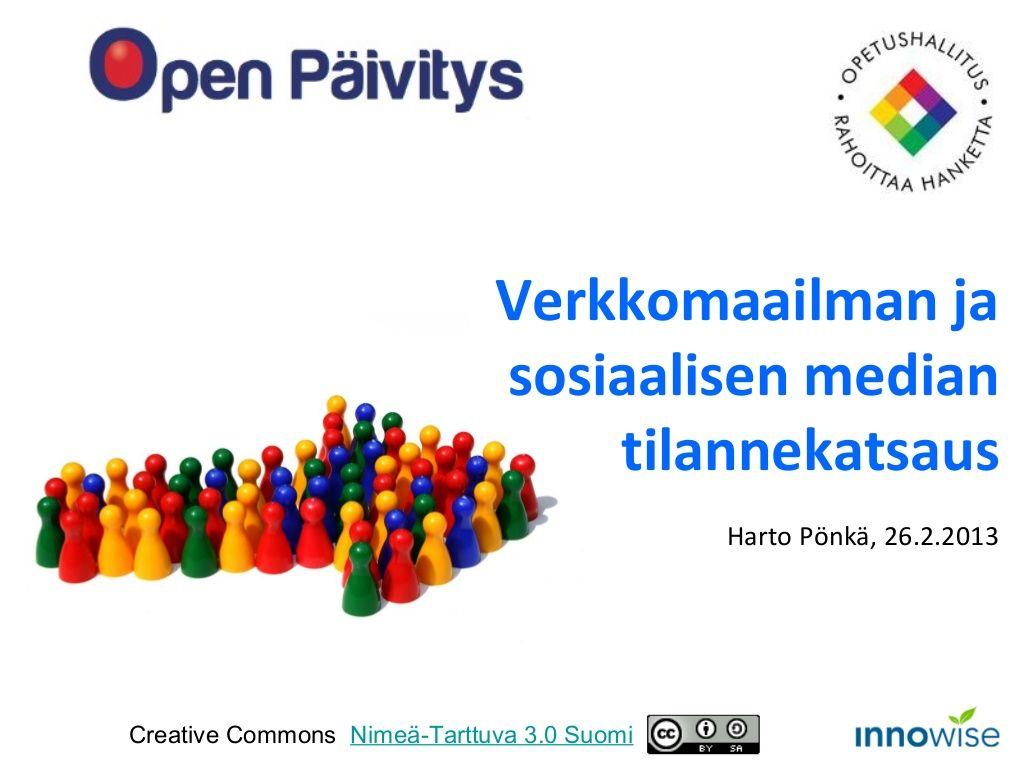 4-verkko-sosiaalinenmediaopetuksessatilannekatsaus by Harto Pönkä via Slideshare