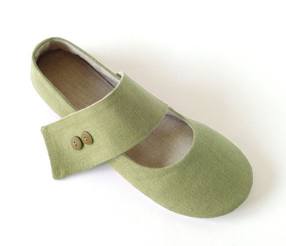Women S Vegan House Shoes Zen Green Ballet Flats Minimalist Style
