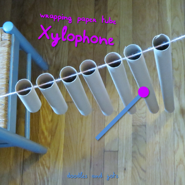 Easy DIY Xylophone (from wrapping paper tubes)