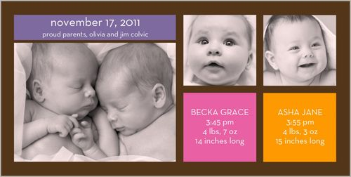 twin birth announcements photo cards