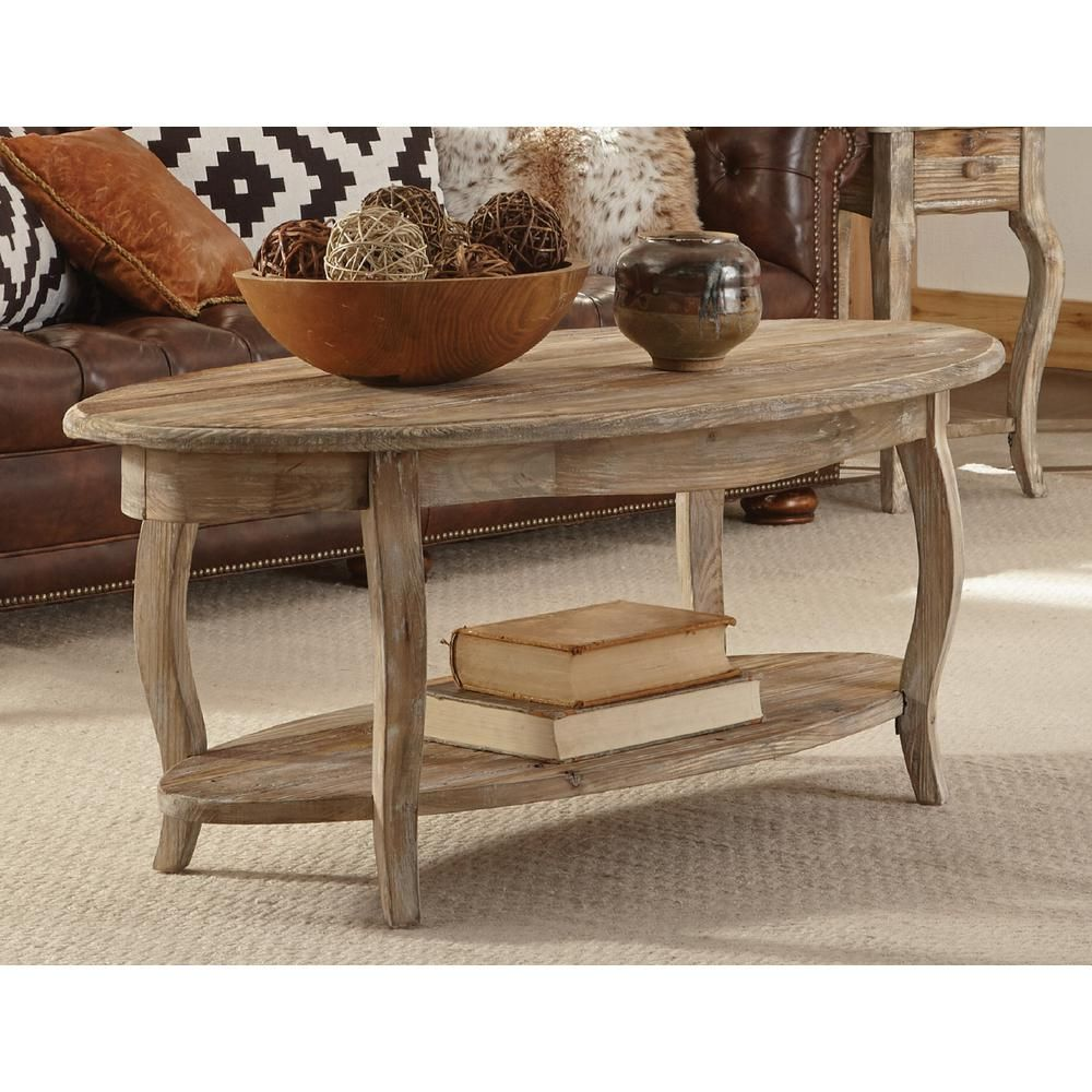 Alaterre furniture rustic driftwood storage coffee table