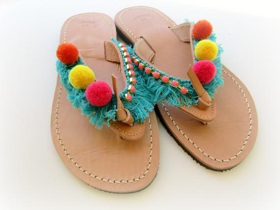 Pompom sandals, Boho greek sandals,Yellow pink orange hippie sandals, Turquoise fringe decorated sandals, Beach hippie sandals, Summer shoes 2