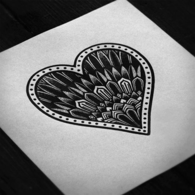 Flash Art Traditional Tattoo Black And White Pattern Heart