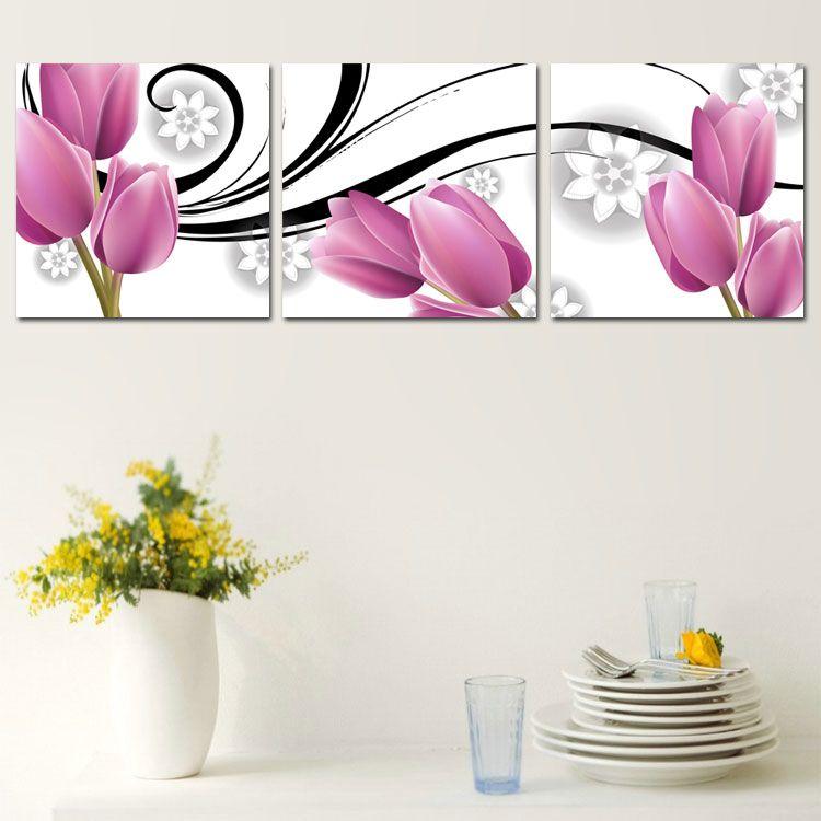 Nueva llegada de pintado a mano tulip n morado para el for Pinturas para el hogar