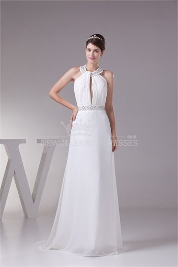 A-Line Halter Puddle Train Garden Wedding Dress