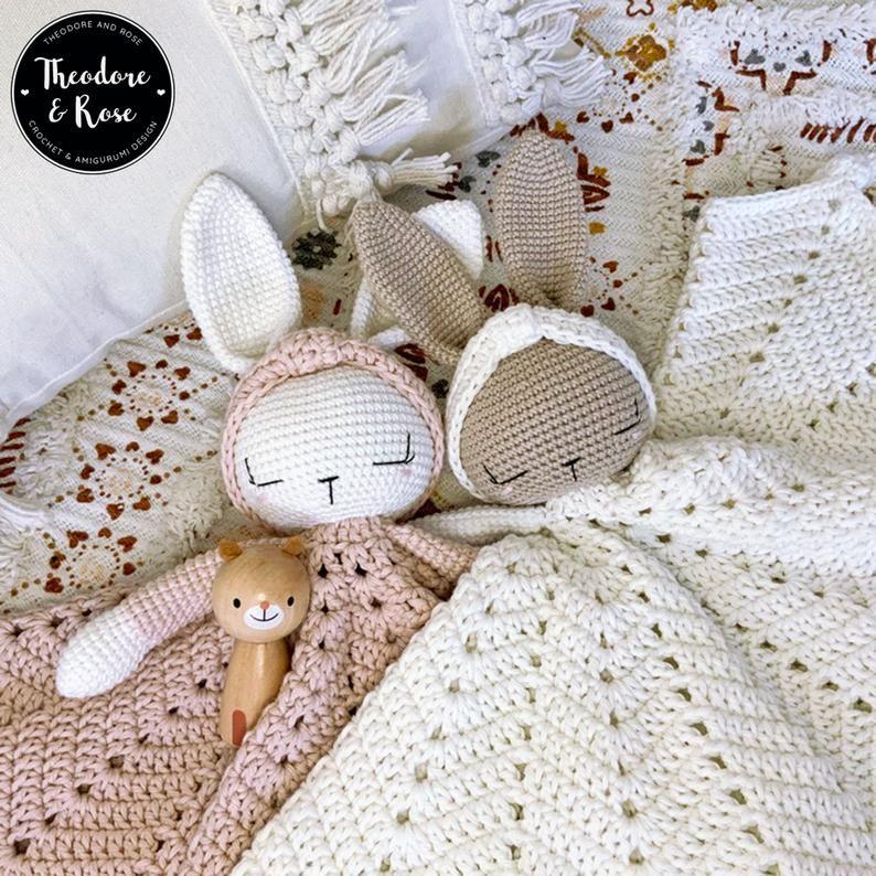 Bunny crochet lovey | Hattie The Bonnie Bunny security blanket | Crochet Pattern PDF | PATTERN ONLY in English