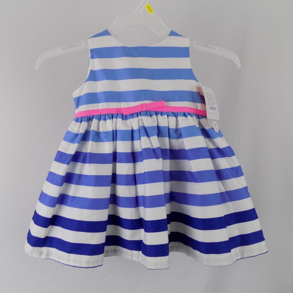 2514bd067 Carter's NWT Size 6M Girls Sun Dress Blue Striped Pink Ribbon Set with  Bloomers #Carters #EverydayHoliday