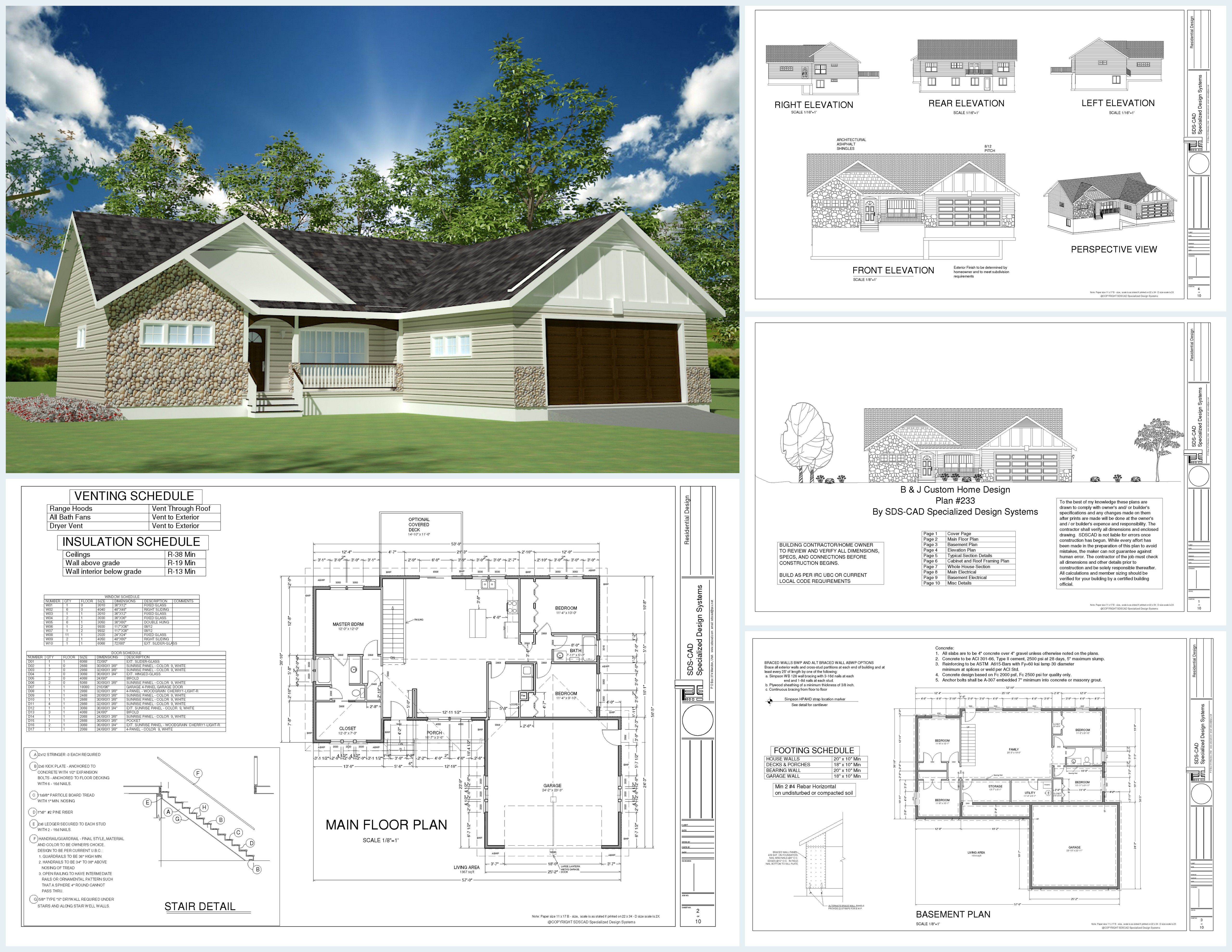 Amazing H233 1367 Sq Ft Custom Spec House Plans In Both PDF And DWG File Good Looking