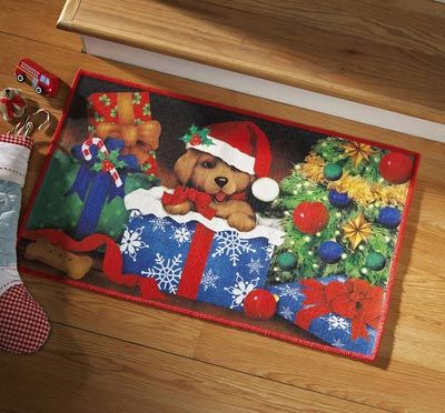 Puppy In Gift Box Christmas Accent Rug
