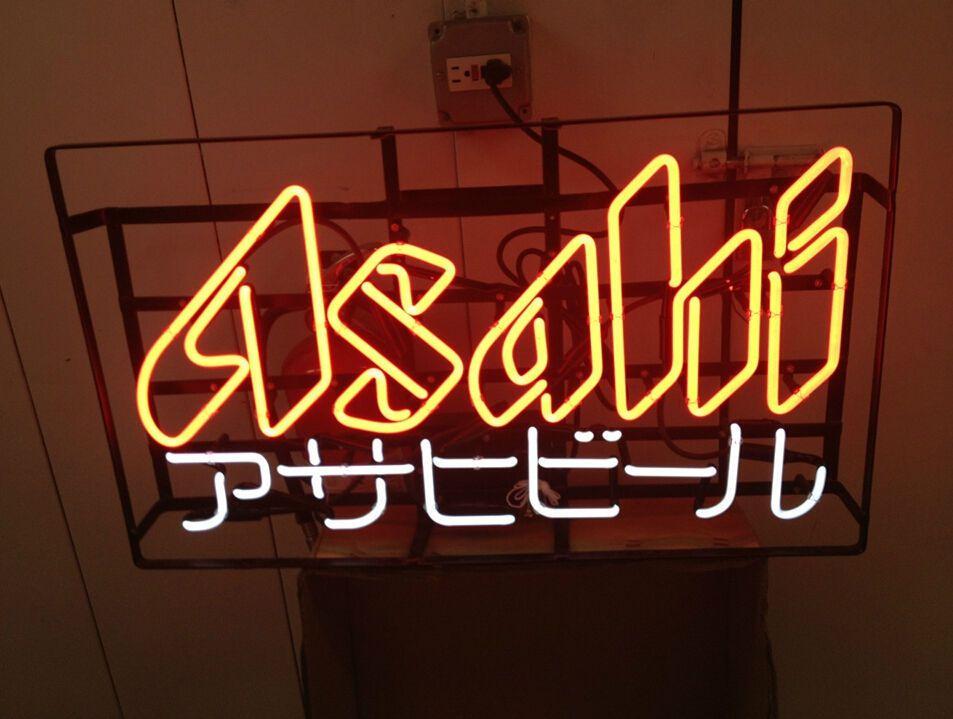 Asahi real glass neon sign beer bar pub mancave business