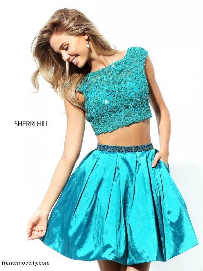 Beaded Sherri Hill 50555 Two Piece 2016 Homecoming Dress Short Teal