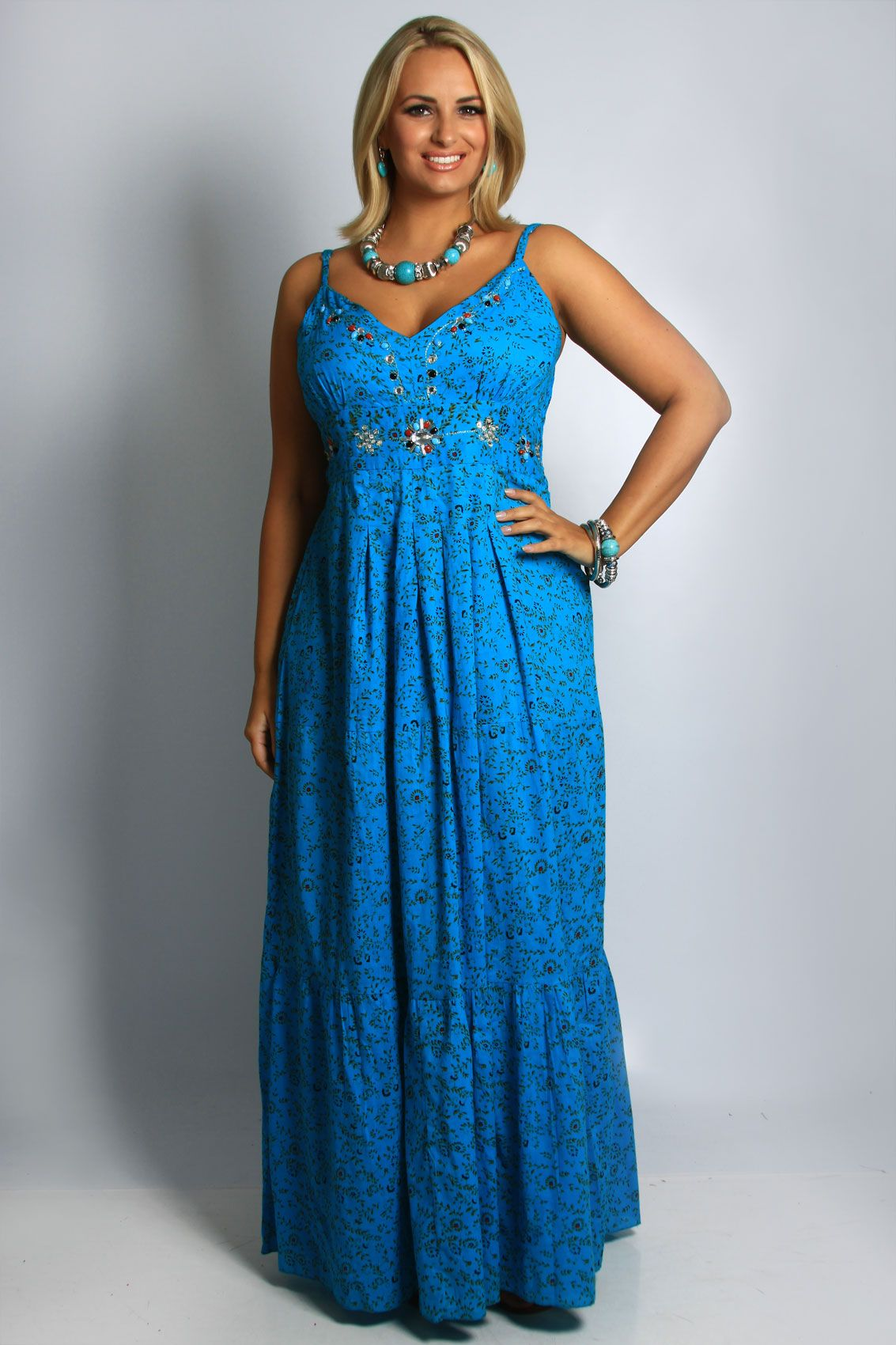 pictures of turquoise items | Turquoise Jewel Detail Printed Maxi ...