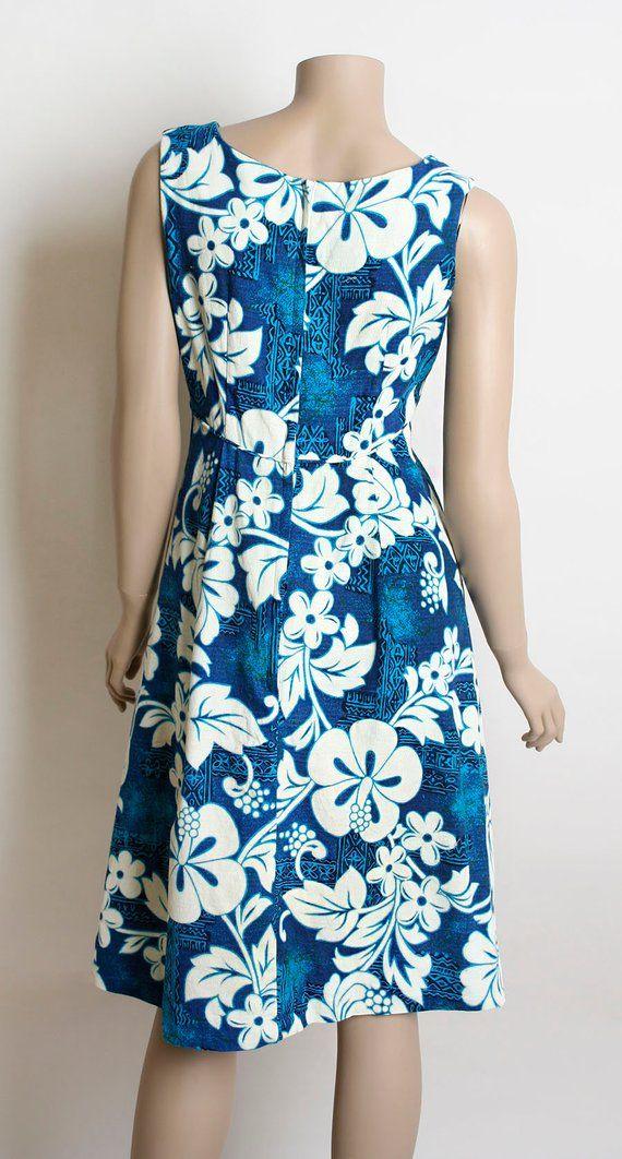 82f9388db093 Vintage Hawaiian Dress - 1960s Royal Hawaiian Blue and White Floral Print  Summer Vacation Dress - Sm