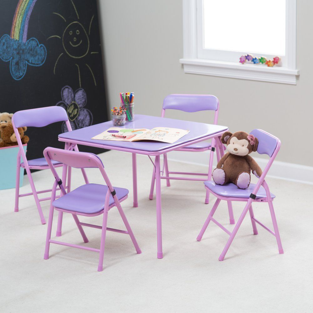 - Showtime Childrens Folding Table And Chair Set, Purple, 1