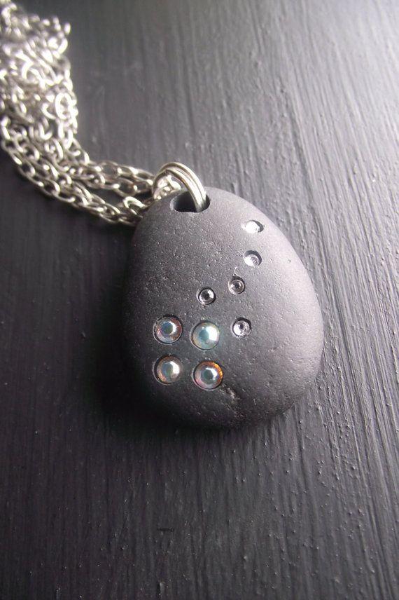 Photo of Emma's Comet – Beach Stone Jewelry – Swarovski Crystal Necklace