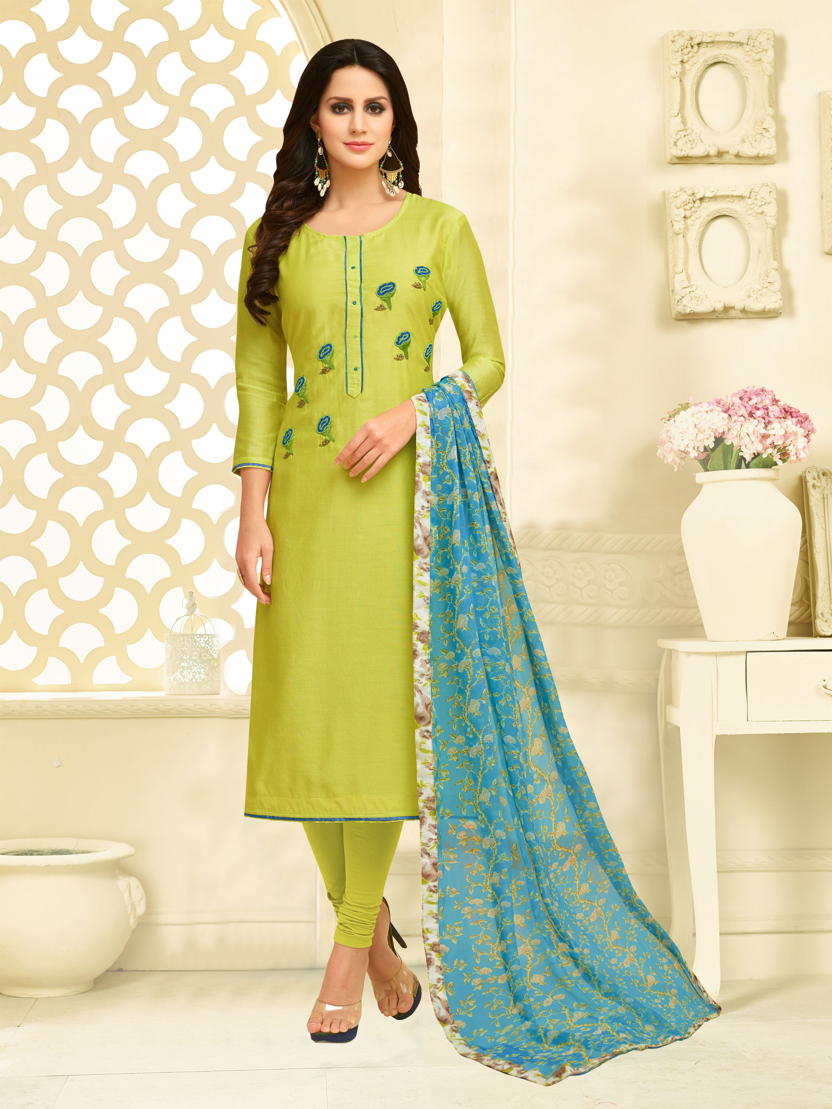 850a06ebef #Light_Green Ratnavati Chanderi Cotton Self Design Semi-stitched Salwar Suit  Dupatta Material