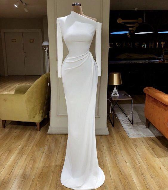 white evening dresses long sleeve modest simple mermaid elegant cheap formal dresses vestido de festa