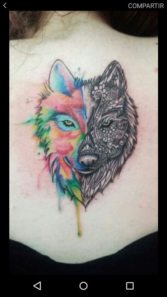 10 Tatuajes de lobos a color