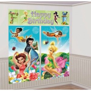 Disney Fairies birthday party wall decoration.