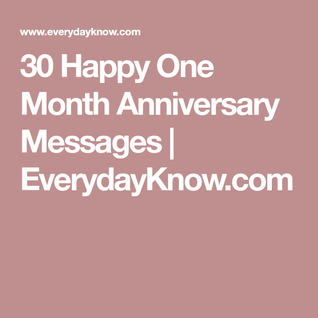 All You Need to Know for a Happy And Lovely One Month