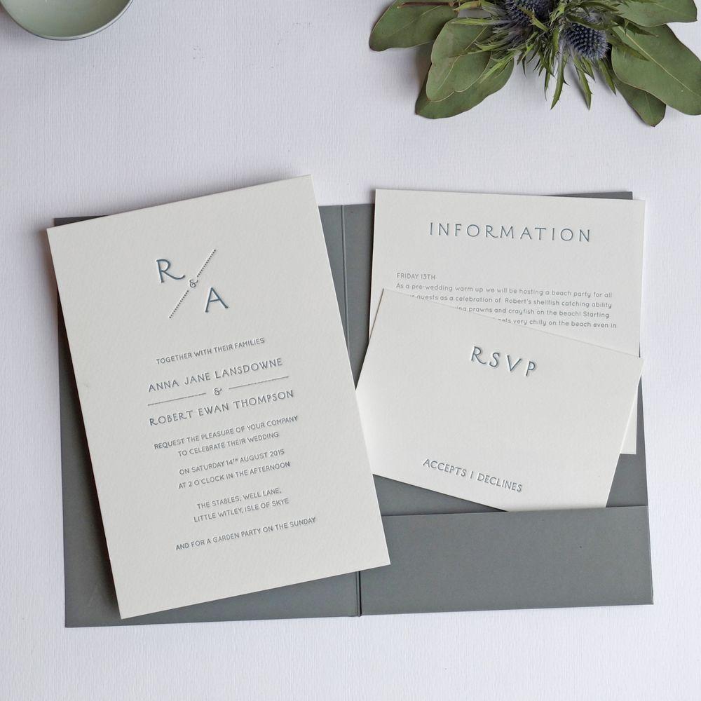 Monogram Pocketfold Letterpress Wedding Invitation - Wolf & Ink 2015 ...