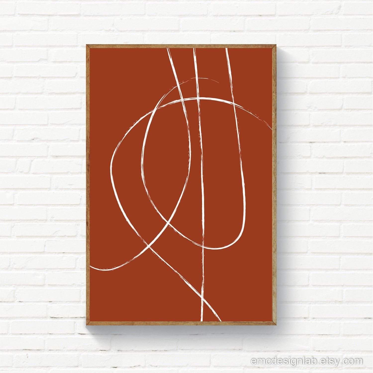 Minimalist Burnt Orange Rust Line Art Line Art Print Instant Etsy Minimalist Prints Line Art Room Wall Art