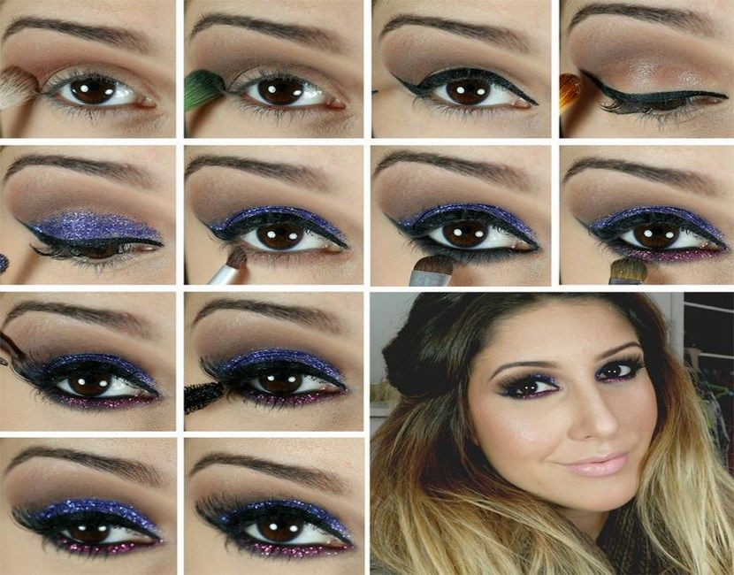 Maquillaje de fiesta con purpurina paso a paso , http//mujeresconestilo.com