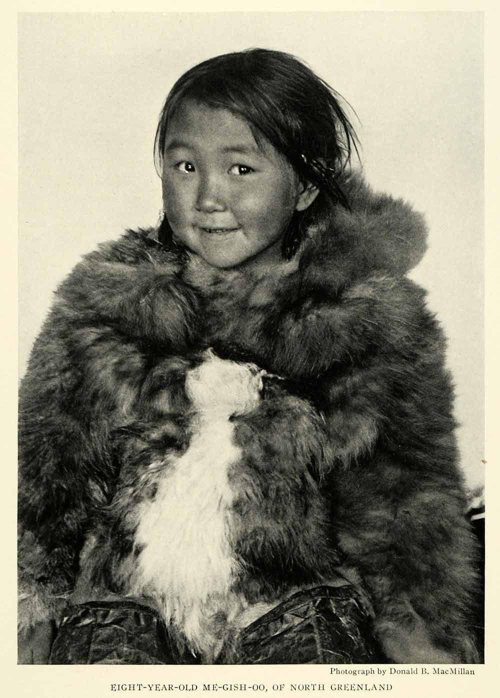1925 Print Portrait Girl Child Smith Sound Eskimo Tribe