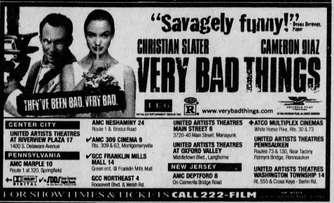 "Ad for ""Very Bad Things,"" starring Christian Slater, Jon"