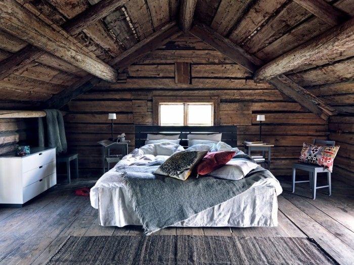 dachschräge einrichten rustikales schlafzimmer gestalten | Möbel ...