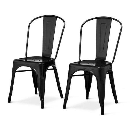 Set Of 2 Carlisle High Back Metal Dining Chair Black Ace Bayou Metal Dining Chairs Metal Dining Room Chairs Metal Farmhouse Chairs