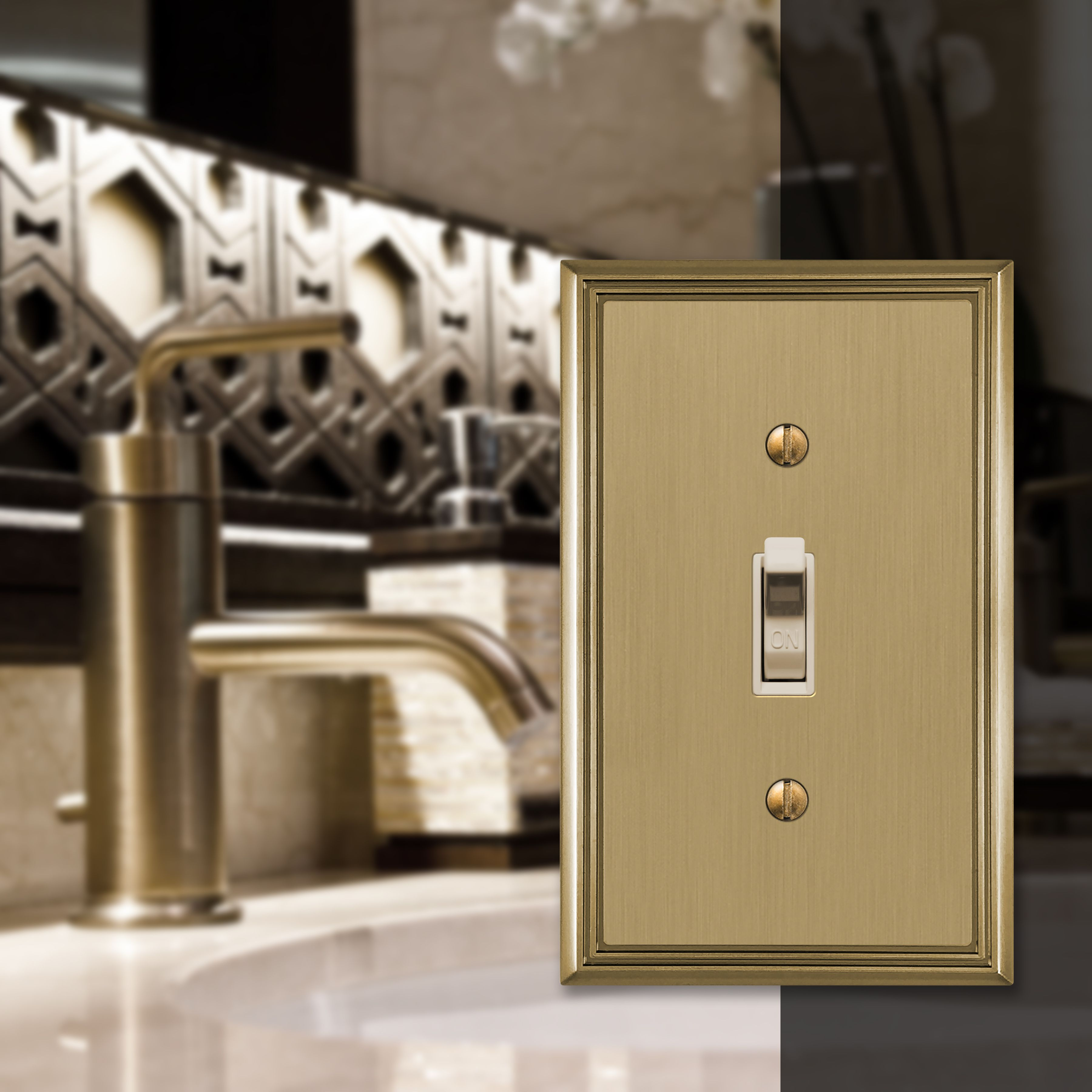 Kitchen Bathroom Our Metro Line Brushed Bronze Wallplates Give Your Kitchen